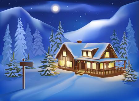 Casa rural entre las colinas cubiertas de nieve en la víspera de Navidad. Paisaje de la noche. Ilustración de vector