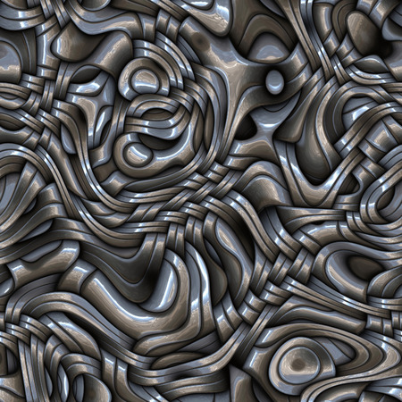 Seamless interweaving metallic surface.