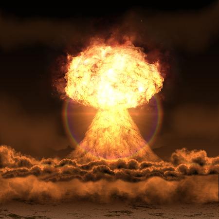 強力な爆発の核爆弾。 写真素材