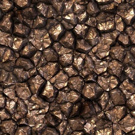 cobble: Seamless stony shining surface background. Stock Photo