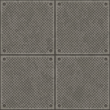 armoring: Seamless square metal plate background. Stock Photo