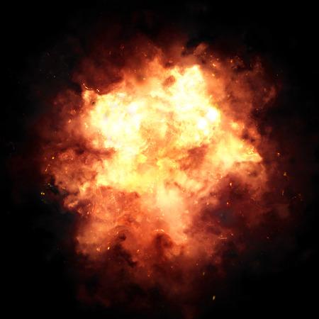 bide: explosion Fiery sur un fond noir. Banque d'images