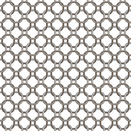 circular chain: Seamless mesh circular chain links. Isolated on white background. Stock Photo
