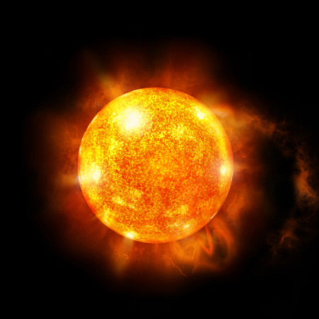 Een afbeelding van een gedetailleerde zon in de ruimte. Knipperen in de zon.