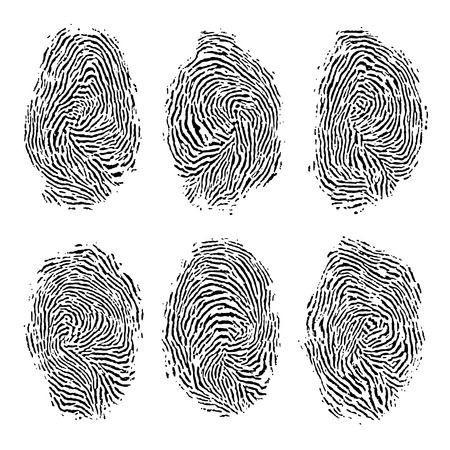 fingermark: Fingerprint set isolated on white background.
