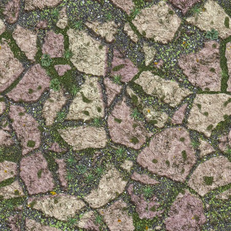 stony: Seamless texture of old stony path with grass. View from above. Stock Photo