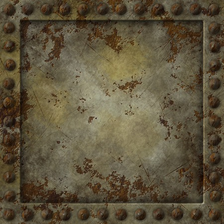rivet: Square texture of a rusty metal plate. Stock Photo