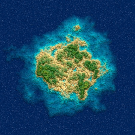 Tropical island in the ocean. Top view.