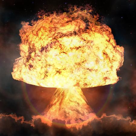 Nuclear explosion. Powerful explosion nuclear bomb.