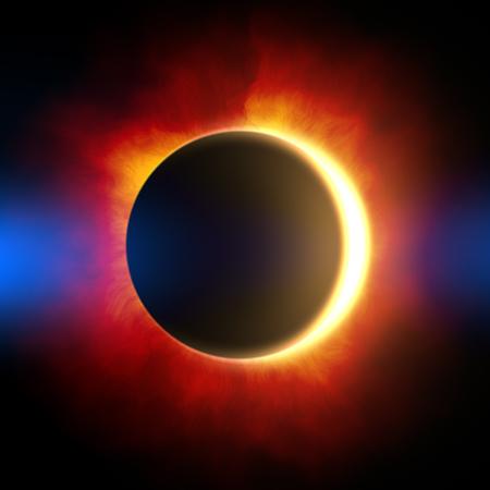 solar eclipse: illustration solar eclipse. Stock Photo