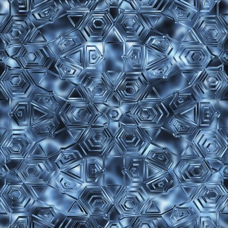 hoarfrost: Seamless winter ornament background. Repeating blue pattern snowflakes. Stock Photo