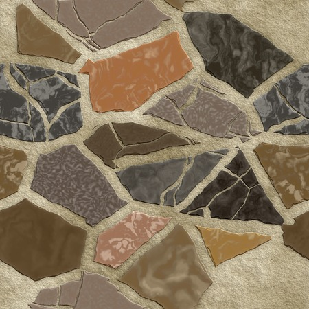 surface: Seamless cracked surface of stone chaotic mosaic. Stock Photo