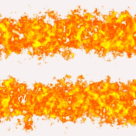 Seamless set flames, fire on a white background. Free space for text. A high resolution. Stock Photo