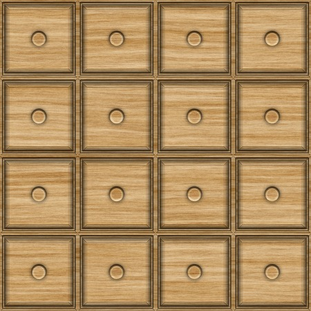 commode: Seamless texture of the facade of the commode for archive. Square wooden drawers.