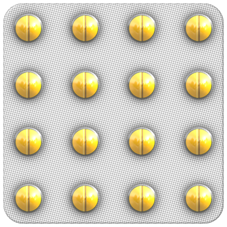blister: Yellow round tablets in a blister. Seamless texture.