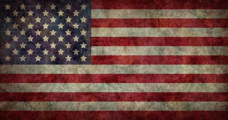 antiqued: Grunge american flag. Shabby and vintage national flag USA. Stock Photo
