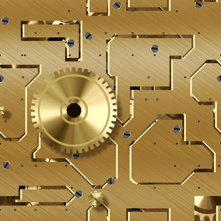 steel structure: Seamless technology background, golden metallic gears and cogwheel closeup. Stock Photo