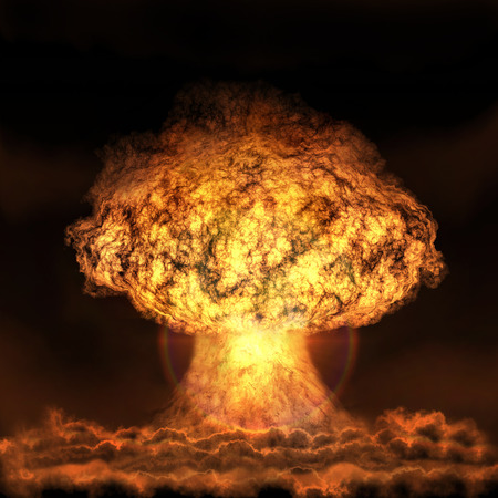 Explosion of nuclear bomb. Nuclear war. A high resolution.