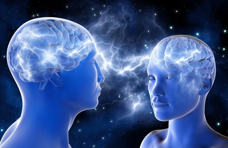 universum: Neuronale Verbindungen im Gehirn von Männern und Frauen. Liebe auf den ersten Blick. Beziehung zwischen den Menschen. 3D-Darstellung. Eine hohe Auflösung.