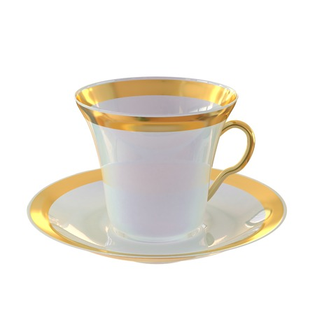 faience: White elegant cup and saucer with gold.  A high resolution.