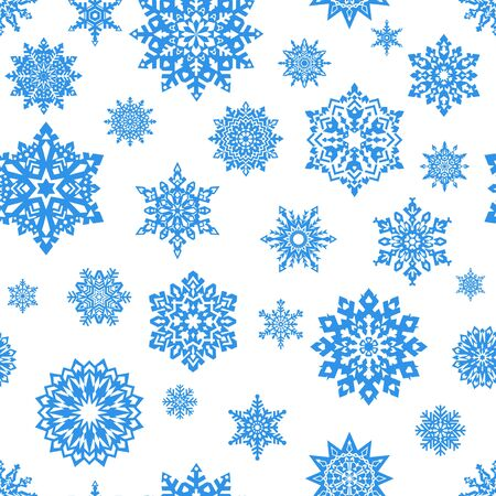 blue snowflakes: Seamless white background with blue snowflakes. Vector. Merry Christmas and Happy New Year Card