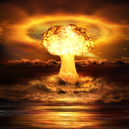 extermination: Powerful explosion nuclear bomb in ocean. Nuclear war. A high resolution.
