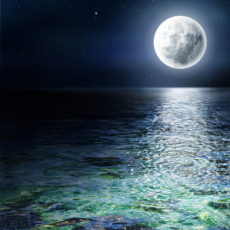 Big moon over the ocean. Seascape and moonlight. A high resolution. Stock Photo