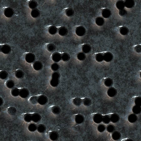 Seamless metal texture with traces of the bullets. Archivio Fotografico