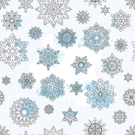 Seamless winter ornament. Snowflakes on a white background. Christmas background.