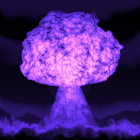 atomic explosion: Powerful explosion of the atomic bomb at night. Nuclear war. A high resolution.