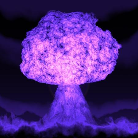 bombe atomique: Puissante explosion de la bombe atomique dans la nuit. Guerre nucléaire. Une haute résolution. Banque d'images