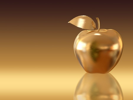 goldish: Golden apple on golden background. A high resolution 3D render. Stock Photo