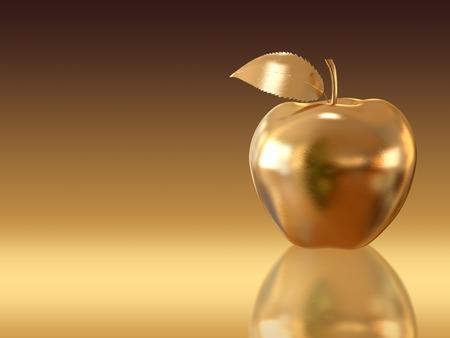 manzanas: Manzana de oro en el fondo de oro. Una alta resolución 3D. Foto de archivo