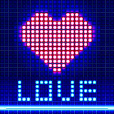 electronic board: Led panel. The word love and red heart on the electronic board. Valentines day.