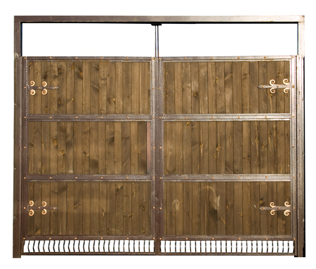 wooden fence: The gate made of wood and metal. A high resolution. Stock Photo