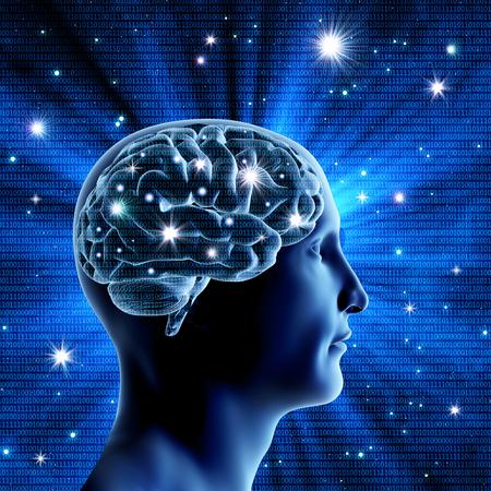 De man het hoofd en de hersenen op een blauwe achtergrond met heldere sterren. Heldere flitsen van neuronen. Binaire code. Een hoge resolutie. Stockfoto