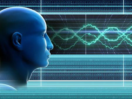 抽象的な背景に男の頭。バイナリ コード。仮想オンライン空間。高解像度。