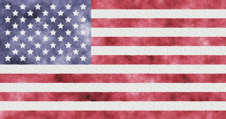 American flag painted watercolor. USA flag on watercolor paper.