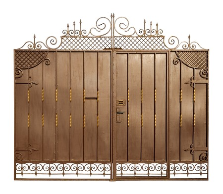 rust metal: Forged ornament on metal gate.