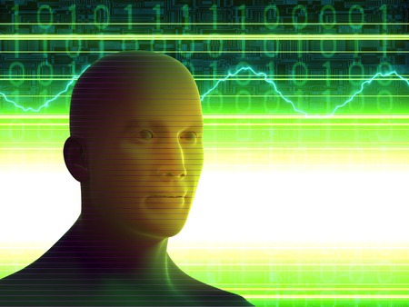 The man on the electronic screen. Bright fluorescent screen light illuminates the man's face. A high resolution. Stock Photo