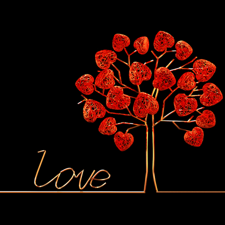 wires: Decorative golden tree and openwork hearts on it. Valentines Day.
