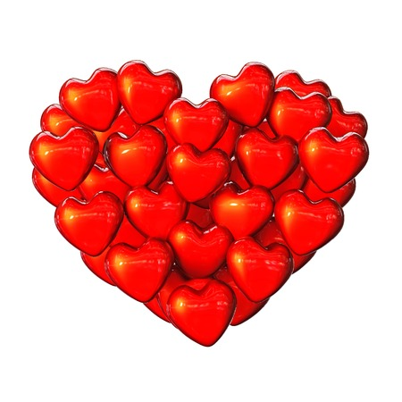 high resolution: Group of bright red shiny hearts on a white background. St. Valentines Day. A high resolution. Stock Photo