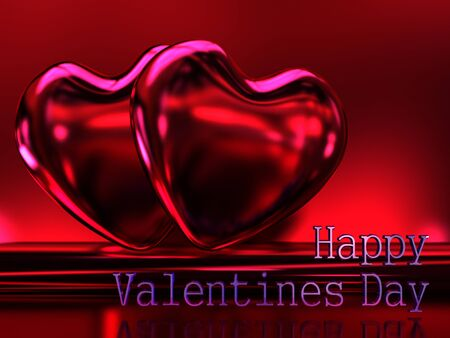 shiny heart: Two bright shiny heart on a dark red background. Postcard Valentines Day. A high resolution. Stock Photo