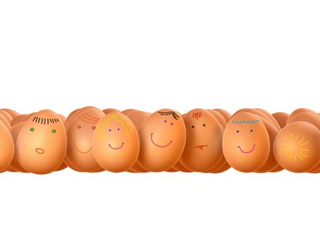 high resolution: Funny easter eggs isolated over white background. A high resolution.