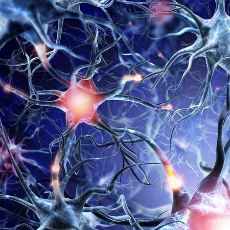 cellule nervose: rete neurale su uno sfondo blu con effetti di luce. Archivio Fotografico