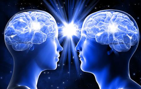 Neem contact tussen man en vrouw. Liefde op het eerste gezicht. Stockfoto