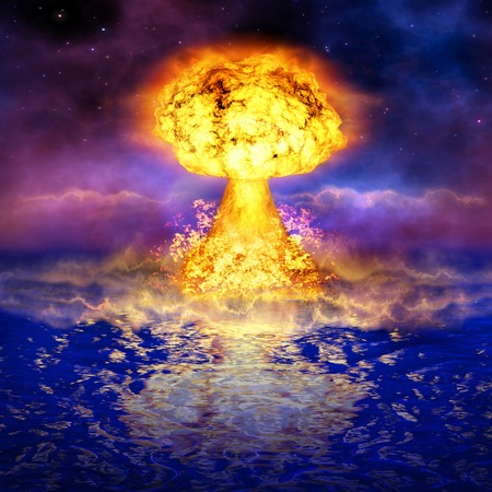 atomic explosion: Nuclear explosion in an ocean. Powerful atomic bomb. A high resolution.