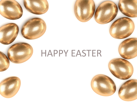 easter card: Golden egg isolated on white background. View from above. Happy Easter. A high resolution.