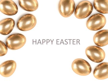 Huevo de oro aislado en el fondo blanco. Vista desde arriba. Felices Pascuas. Una alta resolución.