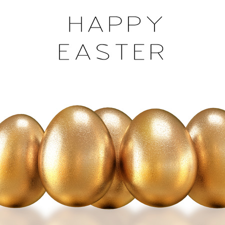 Golden eggs on a white background. Happy Easter
